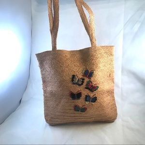 Straw Tote Bag with Embroidered Butterfly Design